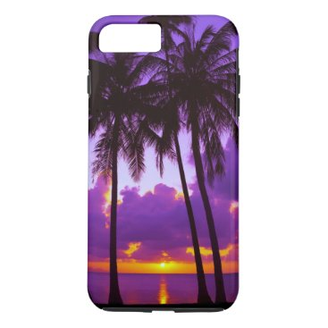 Purple Tropical Sunset 3 Tough iPhone 7 Plus Case