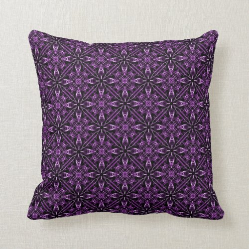 Purple Victorian Fractal Throw Pillow