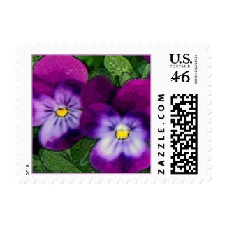 Purple Violets Flower Art Postage stamp
