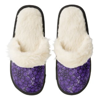 Purple Zentangle Fuzzy Slippers Pair Of Fuzzy Slippers
