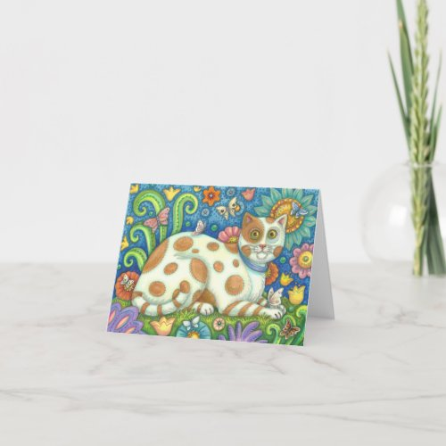 PUSSCAT O PUSSYCAT, FOLK ART NOTE CARD Blank