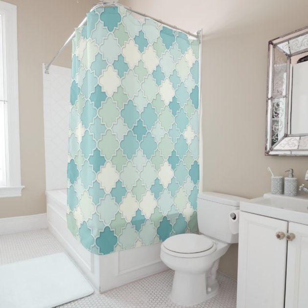 quatrefoil motif in pastel teal and seafoam green shower curtain zazzle com