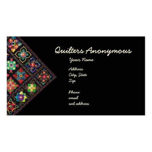 Quilters Anonymous Business Card Zazzle