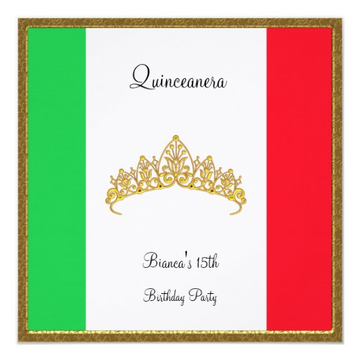 Quinceanera Invitation Mexico Flag Zazzle