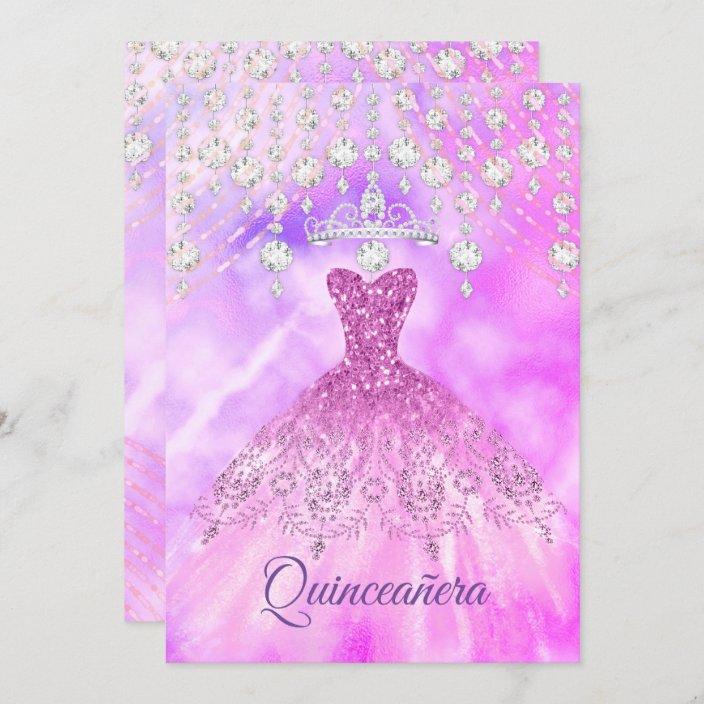 Quinceanera Purple Pink Dress 15th Birthday Party Invitation Zazzle Com