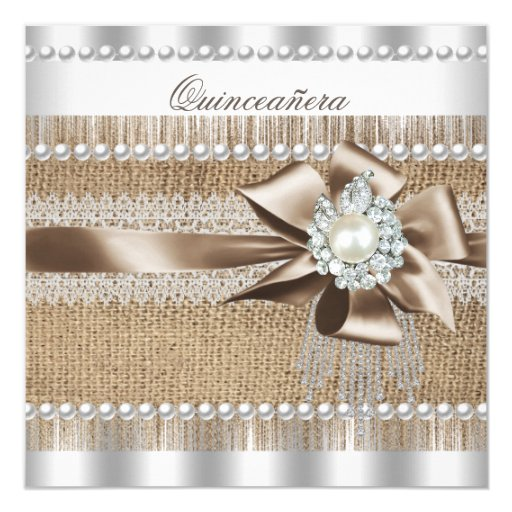 Quinceanera Rustic Burlap Pearl Lace Pearl Card