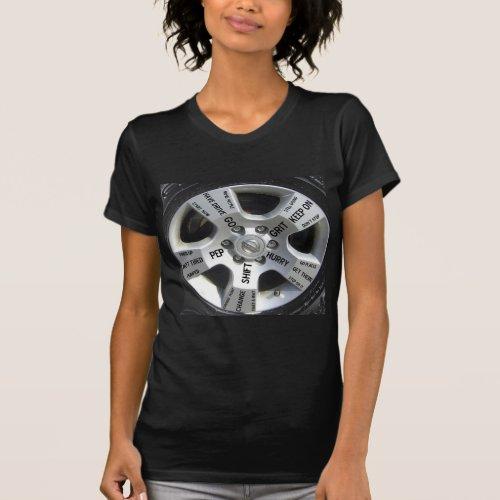 Car Wheel Motivation on a T-Shirt