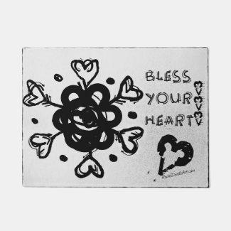 Rachel Doodle Art - Bless Your Heart Doormat