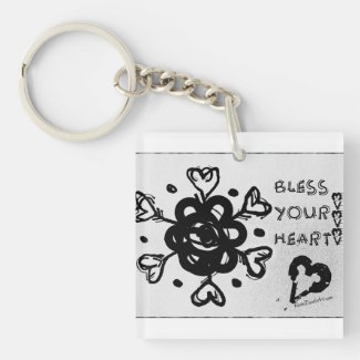 Rachel Doodle Art - Bless Your Heart Single-Sided Square Acrylic Keychain