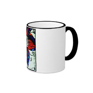 Rachel Doodle Art - Colorful Flower Ringer Coffee Mug