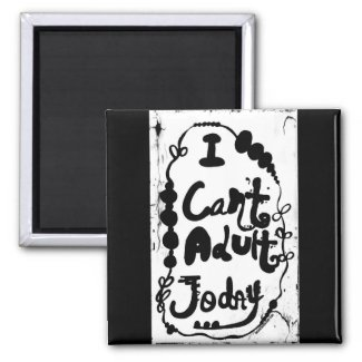 Rachel Doodle Art - I Can't Adult Today 2 Inch Square Magnet