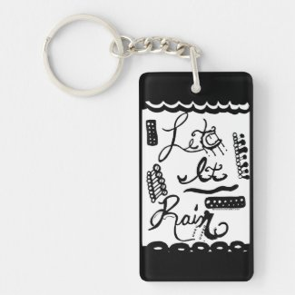 Rachel Doodle Art - Let It Rain Single-Sided Rectangular Acrylic Keychain