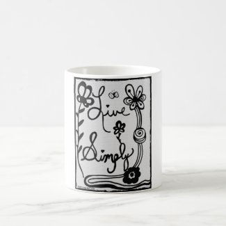 Rachel Doodle Art - Live Simply Classic White Coffee Mug