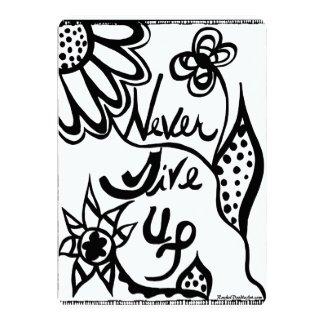 Rachel Doodle Art - Never Give Up 5x7 Paper Invitation Card