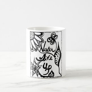 Rachel Doodle Art - Never Give Up Classic White Coffee Mug