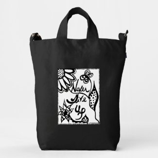 Rachel Doodle Art - Never Give Up Duck Canvas Bag