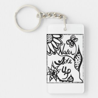 Rachel Doodle Art - Never Give Up Single-Sided Rectangular Acrylic Keychain
