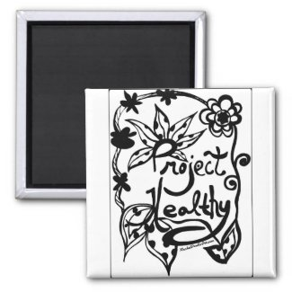 Rachel Doodle Art - Project Healthy 2 Inch Square Magnet