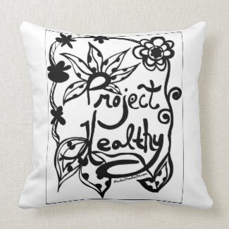 Rachel Doodle Art - Project Healthy Throw Pillow