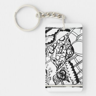 Rachel Doodle Art - Relax Single-Sided Rectangular Acrylic Keychain