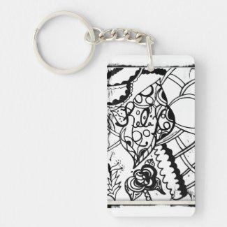 Rachel Doodle Art - Relax Single-Sided Rectangular Acrylic Keychain