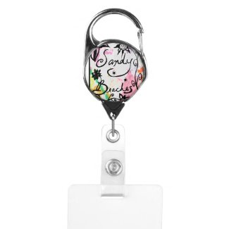 Rachel Doodle Art - Sandy Beaches Badge Holder