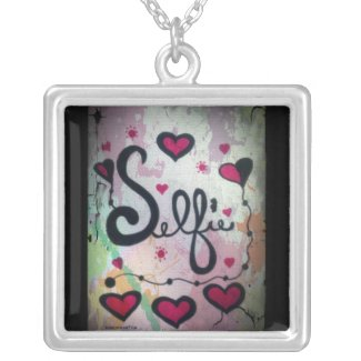 Rachel Doodle Art - Selfie Square Pendant Necklace