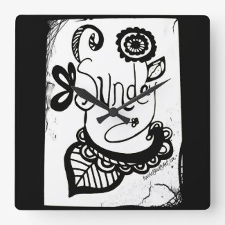 Rachel Doodle Art - Sunday Square Wall Clocks