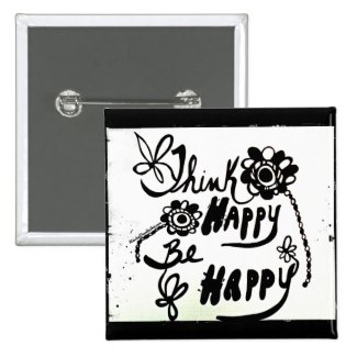 Rachel Doodle Art - Think Happy Be Happy 2 Inch Square Button