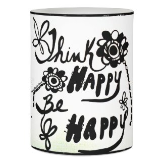 Rachel Doodle Art - Think Happy Be Happy Flameless Candle