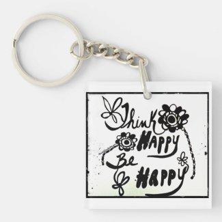 Rachel Doodle Art - Think Happy Be Happy Single-Sided Square Acrylic Keychain