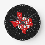 Raider Red and Black Home Sweet Home - Texas Round Clock