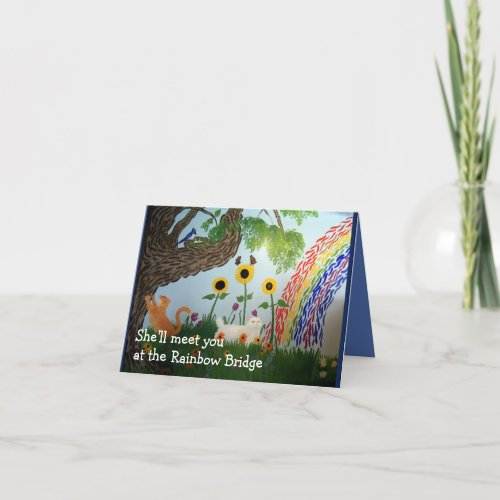 Rainbow Bridge Female Cat Sympathy Card