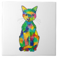 Rainbow Cat Ceramic Tile