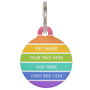 Rainbow Colors custom pet tag