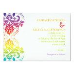 Rainbow colors damask wedding invitation
