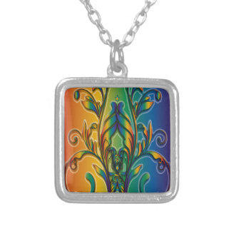 Rainbow Floral Abstract Custom Necklace