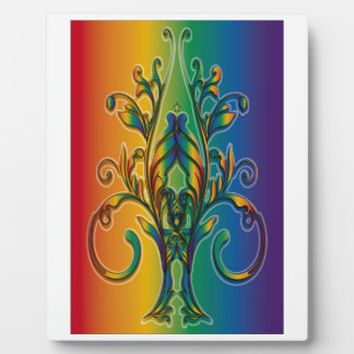 Rainbow Floral Abstract Plaques