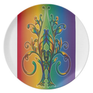 Rainbow Floral Abstract Plates
