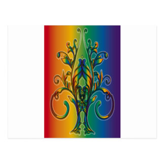 Rainbow Floral Abstract Post Card