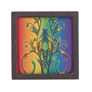 Rainbow Floral Abstract Premium Keepsake Box