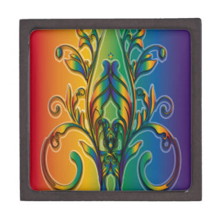 Rainbow Floral Abstract Premium Keepsake Boxes