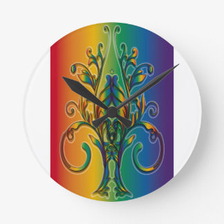 Rainbow Floral Abstract Round Wallclock