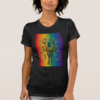 Rainbow Floral Abstract T Shirt