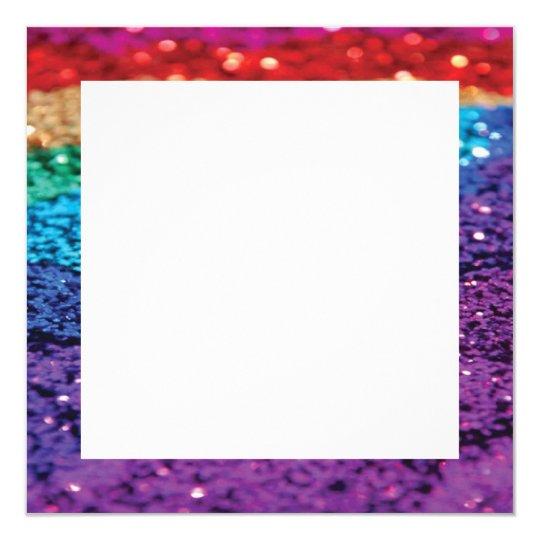 Rainbow Glitter Background Square Invite Template