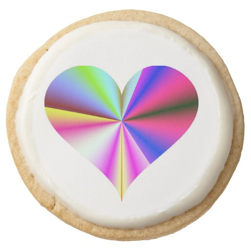 Rainbow Heart Shortbread Cookies Round Premium Shortbread Cookie