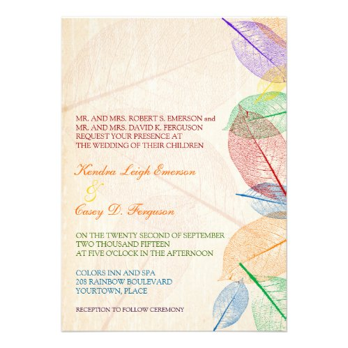 Rainbow Leaves Wedding Personalized Announcements
