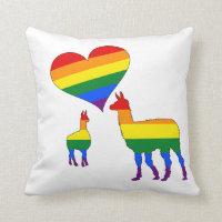 Rainbow llamas throw pillow