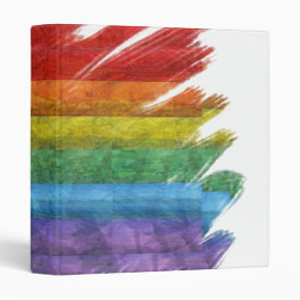 Rainbow Mosaic Gay Pride Flag (Paintbrush) 3 Ring Binder