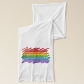 Rainbow Mosaic Gay Pride Flag (Paintbrush) Scarf